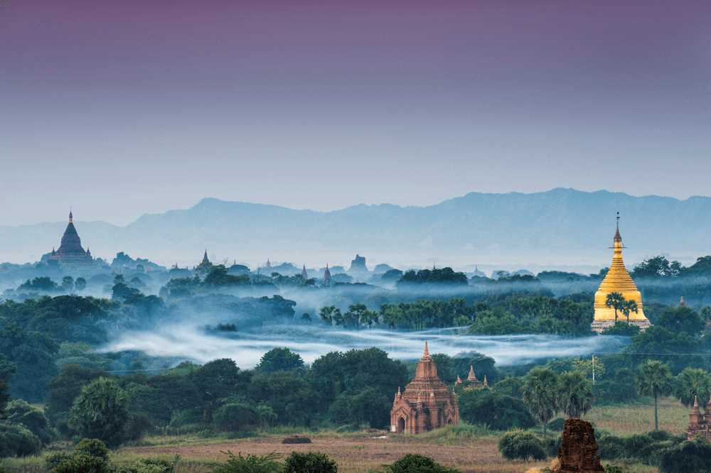811541 Tempel Morgennebel Stupa Pagode